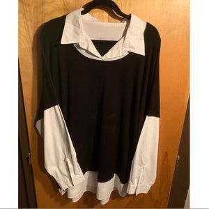 Black & white two-in-one shirt.